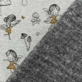 Tissu sweat envers minkee Emilie la Fée gris/jaune x 10cm