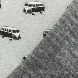 Tissu sweat envers minkee Van mania - gris x 10cm