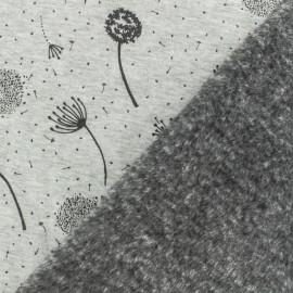Tissu sweat envers minkee Envolée de pissenlit - gris/noir x 10cm