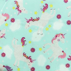 Timeless Treasures Cotton fabric - Turquoise Silver Unicorn x 10cm