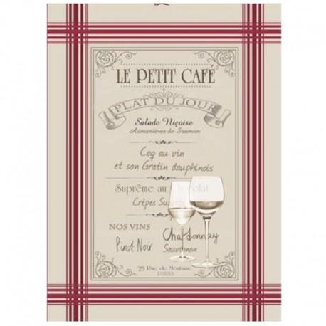 French Tea towel linen / red stripes - Menu
