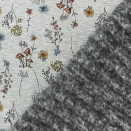 Tissu sweat envers minkee jardin d'automne gris/orange x 10cm