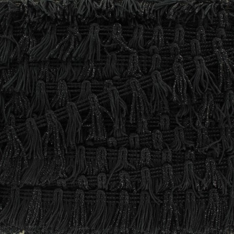 Little Pompom Fringe Braid Trimming - Black x 1m