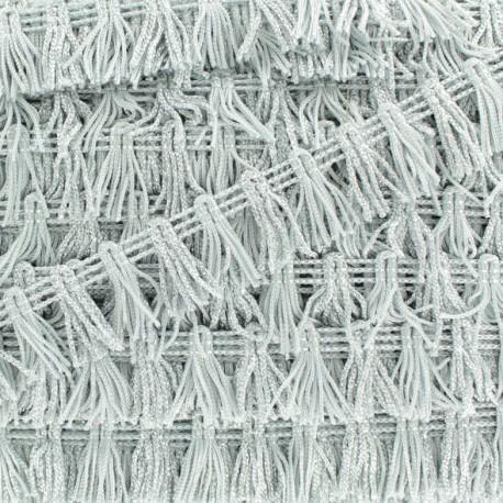 Little Pompom Fringe Braid Trimming - Silver x 1m