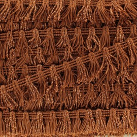 Little Pompom Fringe Braid Trimming - Rust x 1m