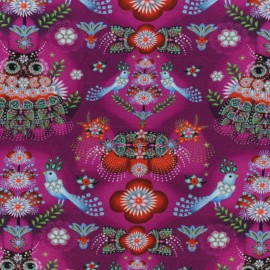 Fiona Hewitt Jersey cotton fabric - Fuchsia Paradise Birds x 10cm