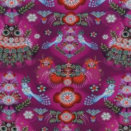 Tissu coton jersey Fiona Hewitt - Paradise Birds - Fuchsia x 10cm