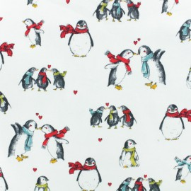Poppy light sweatshirt fabric - White Pretty Penguins x 10cm