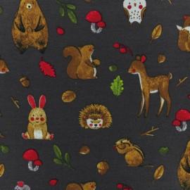 Poppy Jersey fabric - Charcoal grey Forest Animal x 10cm
