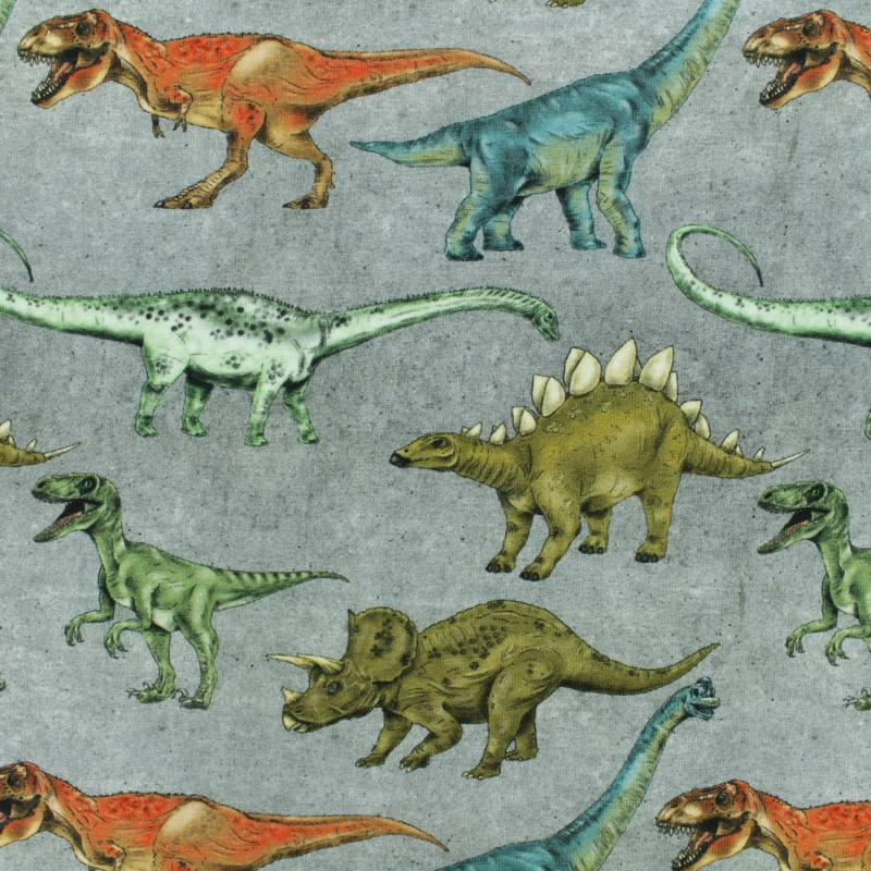 fcafa16a9c7 Poppy Jersey fabric - Grey Dinosaur walk x 10cm ...
