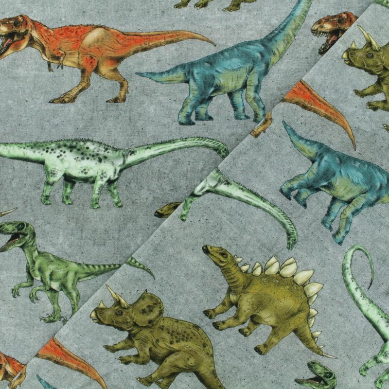 3c250753a5c ... Poppy Jersey fabric - Grey Dinosaur walk x 10cm