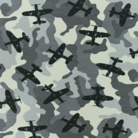 Poppy French Terry fabric - Grey Army Airplane x 10cm