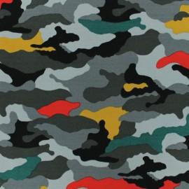 Poppy Jersey fabric - Grey Camouflage x 10cm
