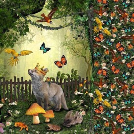 Poppy Jersey fabric Panel - Fairy Tales fox x 87cm