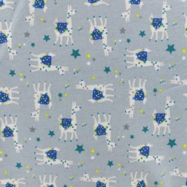 Flannel Fabric - Grey Sacha The llama x 10cm
