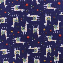 Flannel Fabric - Blue Sacha The llama x 10cm