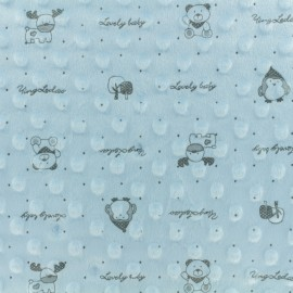 Minkee velvet fabric dot - Blue Lovely baby x 10cm