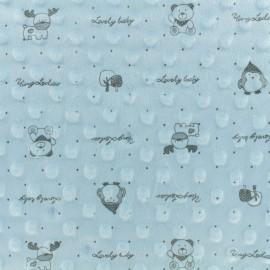 Tissu Velours Minkee doux relief à pois Lovely baby - bleu  x 10cm