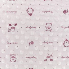 Tissu Velours Minkee doux relief à pois Lovely baby - Rose x 10cm