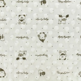 Minkee velvet fabric dot - Milk Lovely baby x 10cm