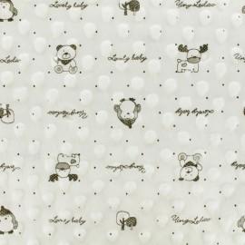 Tissu Velours Minkee doux relief à pois Lovely baby - Blanc x 10cm