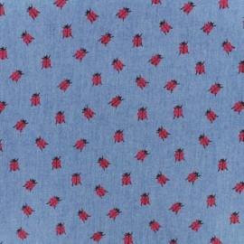 Tissu Jeans fluide Chambray Coccinelle Rouge - bleu moyen x 10cm