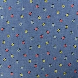 Light Chambray denim fabric - medium blue Pastel Ladybug x 10cm