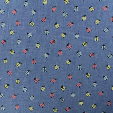 Light Chambray denim fabric - medium blue Pastel Ladybug x 10cm