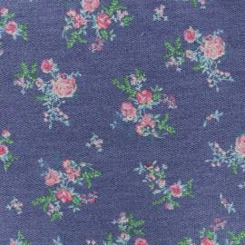 Tissu sweat léger effet piqué Louise - bleu x 10cm