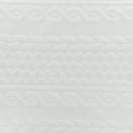 Tissu jersey damassé torsadé - Blanc x 10cm