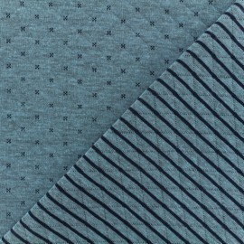 Reversible quilted jersey fabric- blue/navy Solly  x 10cm