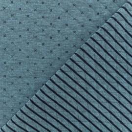 Tissu jersey matelassé réversible Solly - bleu/marine x 10cm