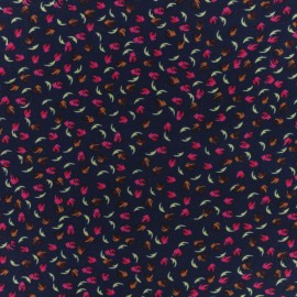 Soft touch Microfiber jersey  fabric - Dark blue Polly x 10cm