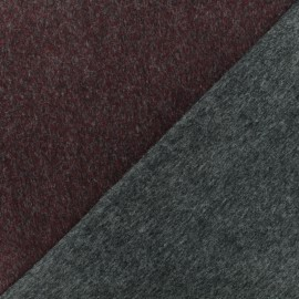 ♥ Only one piece 60 cm X 155 cm ♥ Reversible wool fabric - Burgundy Manchester