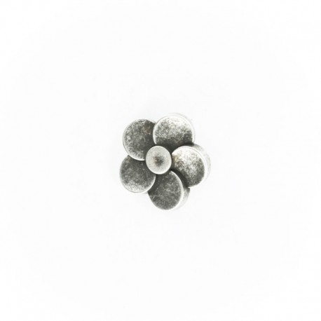 Metal Look Polyester Button - Ancient Silver Hélicea