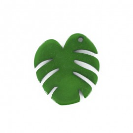 40 mm Polyester Button - Green Monstera