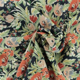 ♥Coupon 60 cm X 135 cm♥  Waffle stitch viscose crepe fabric - black Chiara