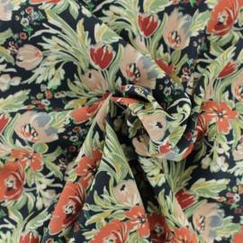 Tissu Viscose crêpé piqué Chiara - Noir x 10cm