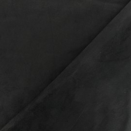 Suede elastane fabric Aspect Daim - black x 10cm