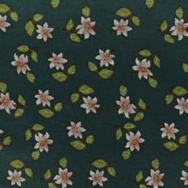 Tissu Jersey Milano Réversible Flora - vert x 10cm