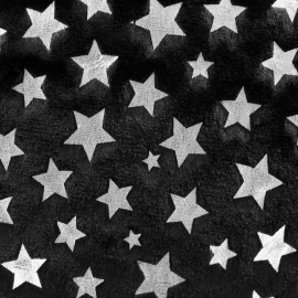 Fur fabric - black/silver star x 10cm