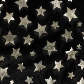 Fur fabric - black/silver star x 10cm