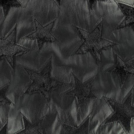 Tissu simili cuir et fourrure étoile - noir x 10cm