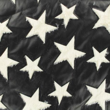 Tissu simili cuir et fourrure étoile - noir/blanc x 10cm