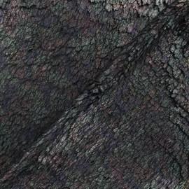 Tissu simili cuir et fourrure Chat - noir x 10cm