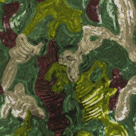 Sewn sequin Fabric - Green Army x 10cm
