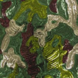 Tissu sequins Camouflage - vert x 10cm