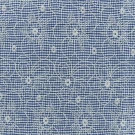Tissu coton vichy brodé - bleu x 10cm