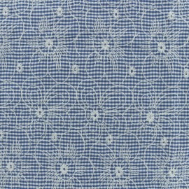Embroidered gingham cotton fabric - blue  x 10cm
