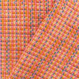 Lurex Tweed fabric - Orange Amber x 10cm